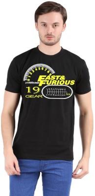 Pp jeans Printed Men's Round Neck Black T-Shirt