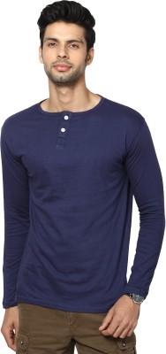 La Rochelle Solid Men's Henley Blue T-Shirt