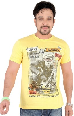 Moncheri Printed Men's Round Neck Yellow T-Shirt