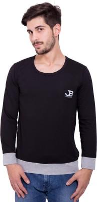 Jangoboy Solid Men's Round Neck Black, Grey T-Shirt