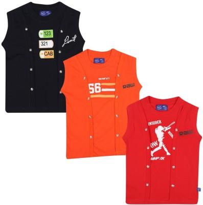 SPN Garments Printed Girl,s Round Neck Red, Orange, Black T-Shirt