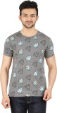 Cipria Printed Men's Round Neck Grey T-S...