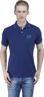 Lotto Solid Men's Polo Blue T-Shirt