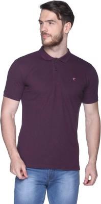 CLUB YORK Solid Men,s Polo Purple T-Shirt