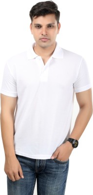 Etoffe Solid Men's Polo Neck White T-Shirt