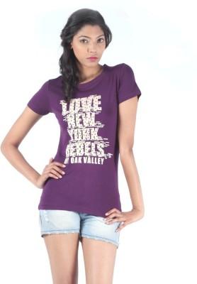 S9 Women Printed Women's Round Neck Purple T-Shirt