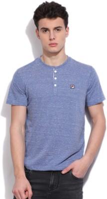 Fila Self Design Mens Round Neck Blue T-Shirt