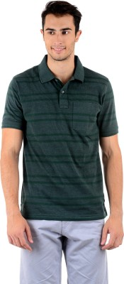 Mudo Striped Men's Polo Neck Green T-Shirt