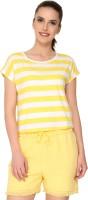 Alibi By Inmark Printed Women's Round Neck Yellow T-Shirt best price on Flipkart @ Rs. 450