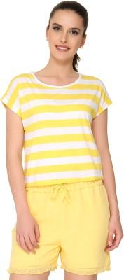 Alibi By Inmark Printed Women's Round Neck Yellow T-Shirt