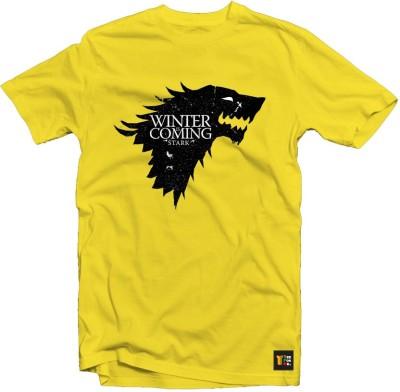 Teeforme Graphic Print Men's Round Neck Yellow T-Shirt