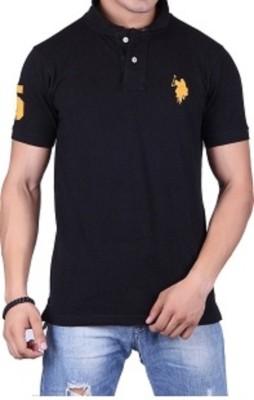 Ganesh Creation Solid Men's Polo Black T-Shirt