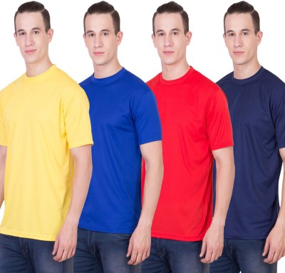 Randier Solid Men's Round Neck Yellow, Blue, Red, Dark Blue T-Shirt