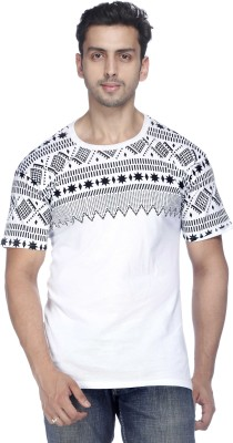 Demokrazy Printed Men's Round Neck White T-Shirt
