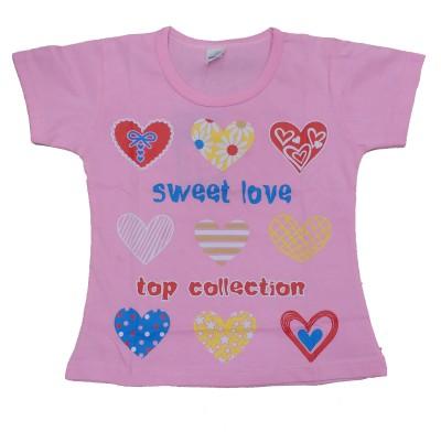 Kandyfloss Self Design Girl's Round Neck Pink T-Shirt