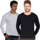 Rigo Solid Men's Round Neck White, Black...