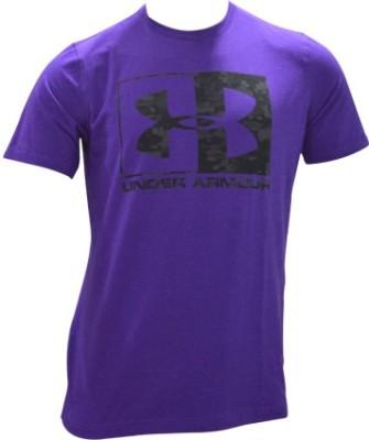 Under Armour Solid Men's Round Neck Purple T-Shirt
