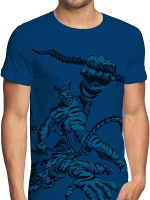 ANGI Graphic Print Men's Round Neck Blue, Dark Blue T-Shirt