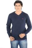 Thread Craft Solid Men's V-neck Blue T-S...