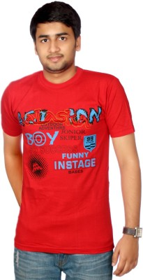 AADUKI Printed Men's Round Neck Red T-Shirt