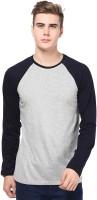 Izinc Solid Men's Round Neck Grey, Dark Blue T-Shirt