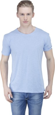 Sass Solid Men's Round Neck Blue T-Shirt