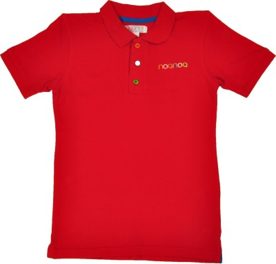NOQNOQ Solid Boy's Polo Neck Red T-Shirt