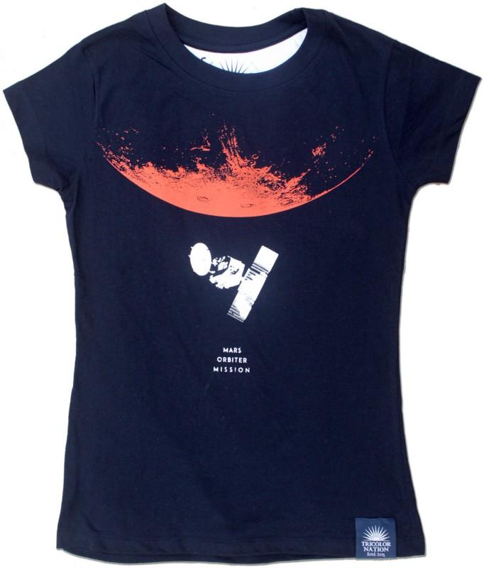 Tricolor Nation Graphic Print Women's Round Neck Blue T-Shirt