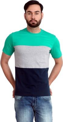 Urban Republic Solid Men's Round Neck Green, Grey, Blue T-Shirt