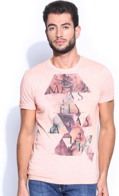 GAS Printed Men's Round Neck Orange T-Shirt