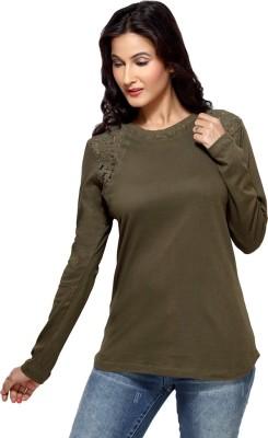 Loco En Cabeza Solid Women's Round Neck Dark Green T-Shirt
