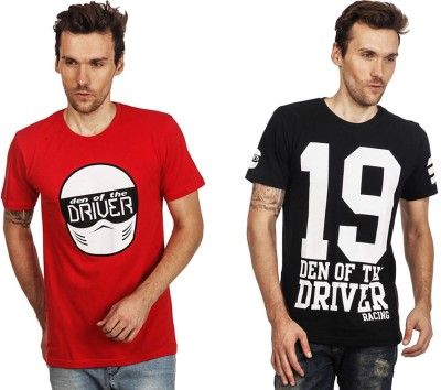 Den Of The Driver Printed Men's Round Neck Multicolor T-Shirt