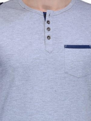 Slingshot Solid Men's Henley Grey T-Shirt