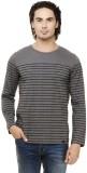 Rigo Striped Men's Round Neck Grey T-Shi...