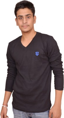 Plus Store Solid Men's V-neck Black T-Shirt