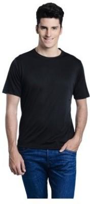 Look Fabs Solid Men's Round Neck Black T-Shirt