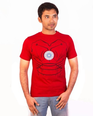 Indrow Printed, Graphic Print Men's Round Neck Red T-Shirt