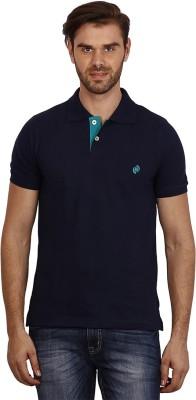 Crush on Craze Solid Men's Polo Neck Dark Blue T-Shirt