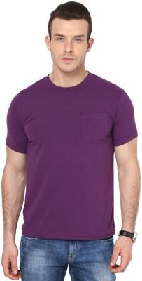 Cherymoya Solid Men's Round Neck Purple T-Shirt