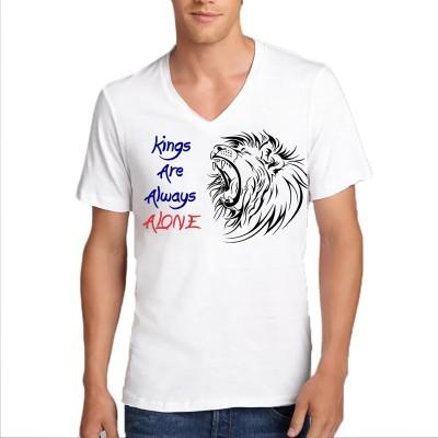 FRENEMY Printed Men's V-neck Reversible White T-Shirt