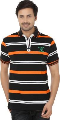 Q-Plus Striped Men's Polo Neck Black, Orange T-Shirt