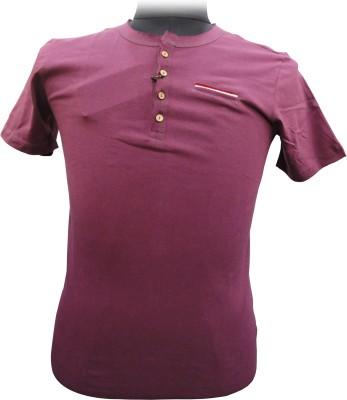 BK Black Striped Men's Round Neck Maroon T-Shirt