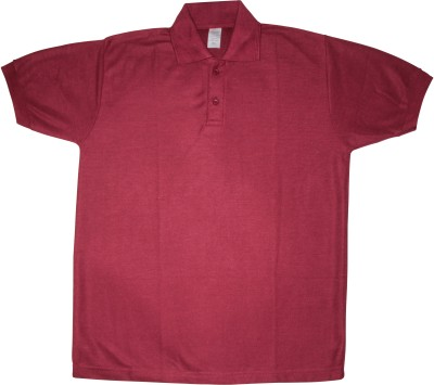 Bainsons Solid Men's Polo Maroon T-Shirt