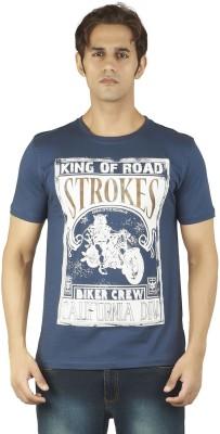 Soulrebel Graphic Print Men's Round Neck Blue T-Shirt