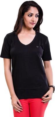 TVENO Solid Women's V-neck Black T-Shirt