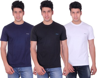 Montreal Solid Men,s Round Neck Multicolor T-Shirt
