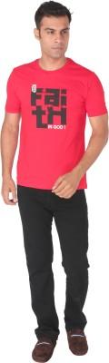 Tohfaa Printed Men's Round Neck Red T-Shirt