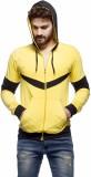 Demokrazy Solid Men's Hooded Yellow, Bla...