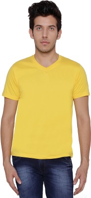 Threadz Solid Men's V-neck Yellow T-Shirt