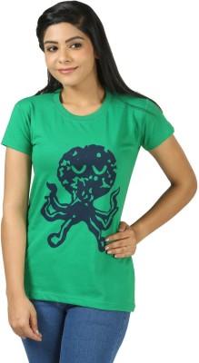 Shopdayz Printed Women's Round Neck Green T-Shirt